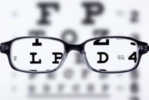 Eyeglasses and eye chart