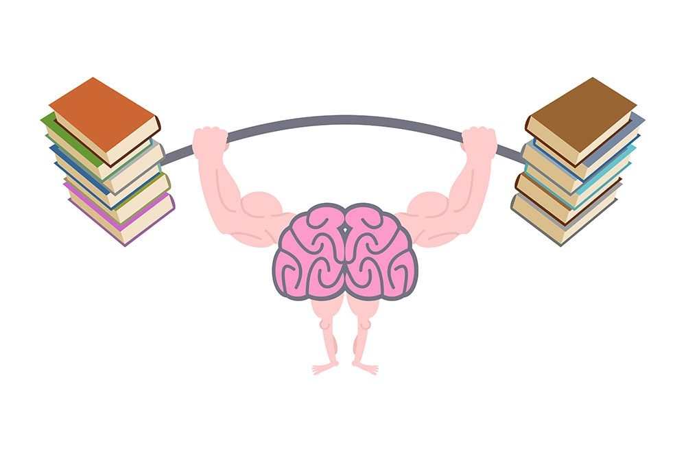 a brain getting stronger by lifting books
